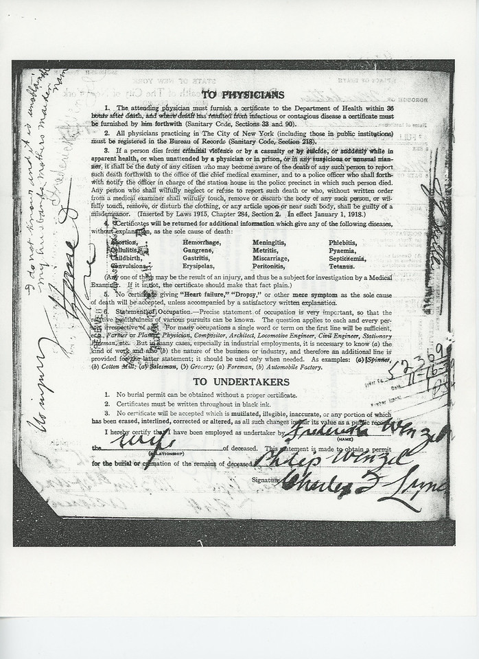 Certificate of Death Philip Wenzel (1846-1925) p2