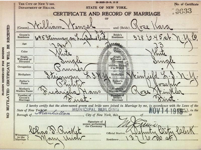 Certificate & Record of Marriage William Wenzel (1889-1974) & Rose Kara 14 Nov 1918 p1