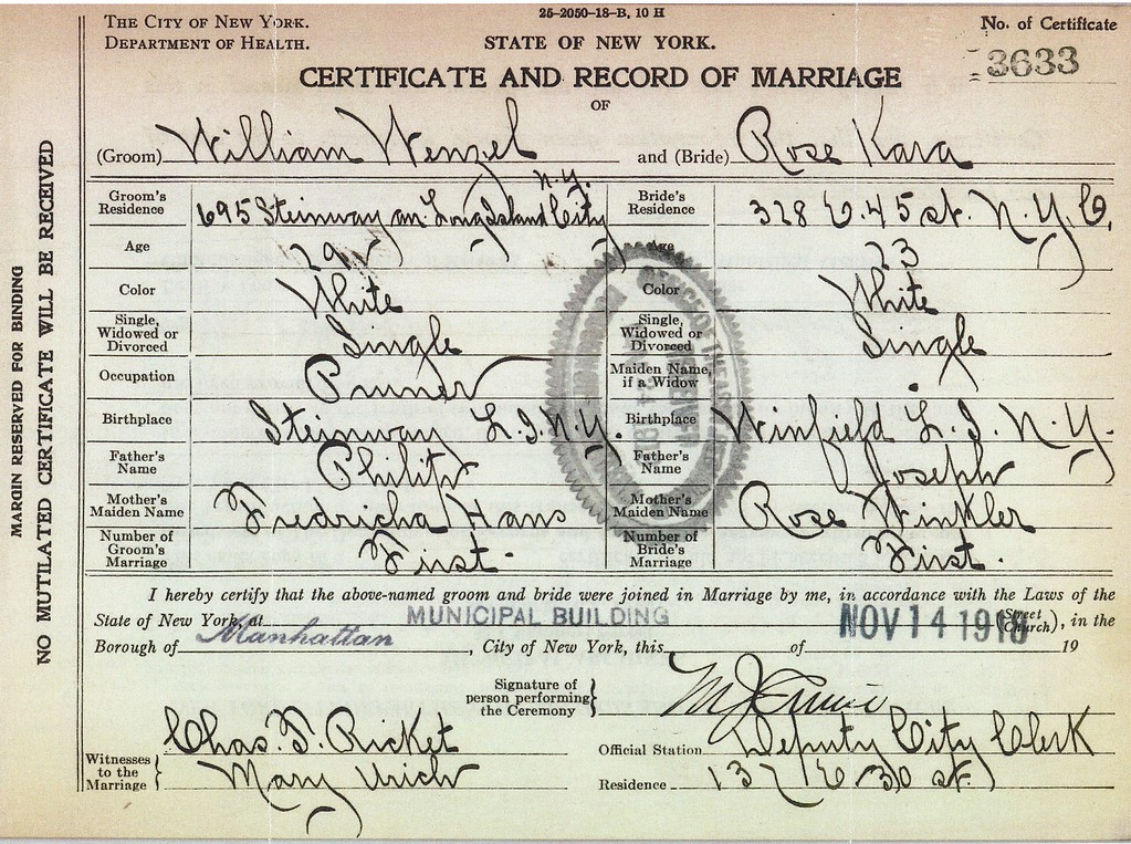 Certificate & Record of Marriage William Wenzel (1889-1974) & Rose Kara 14 Nov 1918 p1