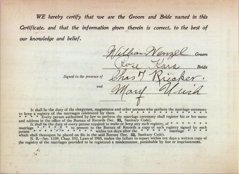 Certificate & Record of Marriage William Wenzel (1889-1974) & Rose Kara 14 Nov 1918 p2
