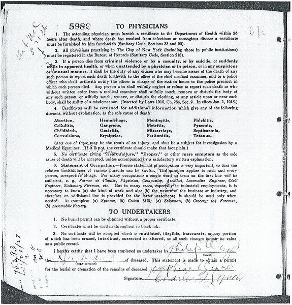 Certificate of Death Josephine Molinski Wenzel (1895-1927) p2