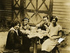 "Hannah Hirschman, Esther Bloom, Oscar Hirschmann, ""orphan girl who stayed with us"".<br /> <br /> Dave Bloom's farm in Norwood, NJ, 1925"