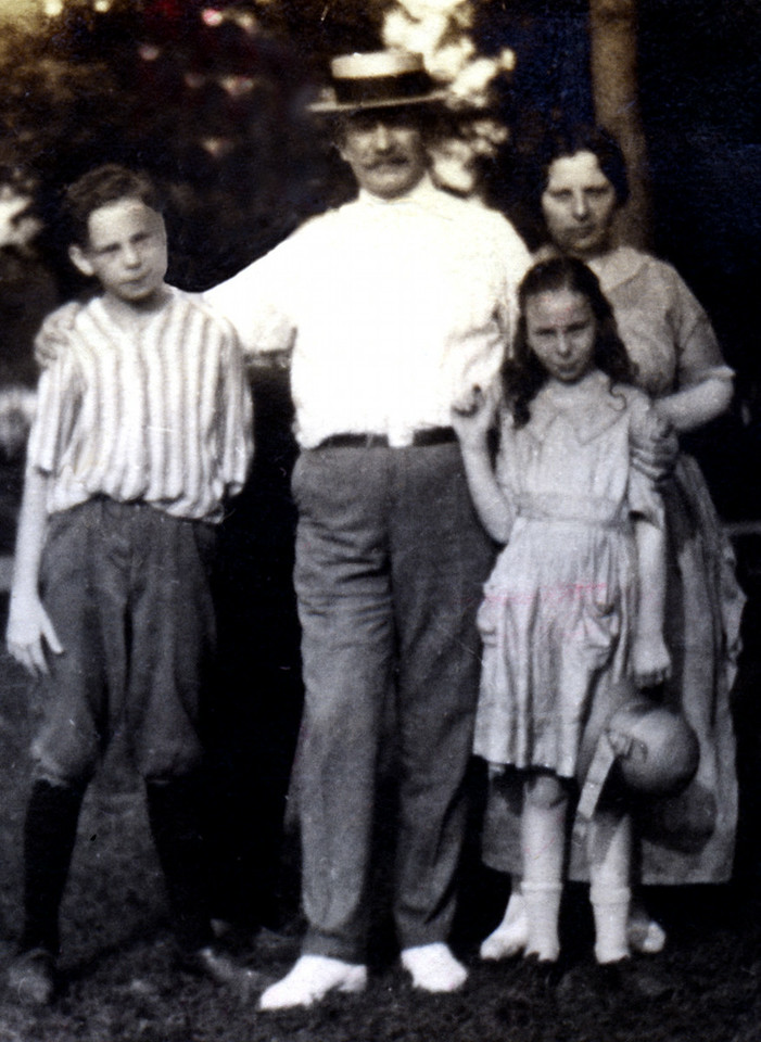 James Caldwell, Charles Mason Caldwell, Lillian Reilly Caldwell and Lillian Caldwell at Boblo Island Amusement Park in 1921