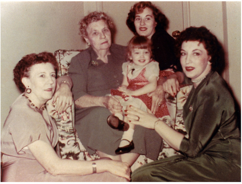 Lelia Caldwell Morrill, (born 1898 / died 1967)<br /> Mary Ellen Reilly Caldwell,  (born 1877 / died 1967)<br /> Sharon Hill Miller, (born 1937)<br /> her daughter (Donna Miller)<br /> Mary Kathryn Morrill Hill, (born 1917 / died 1986)