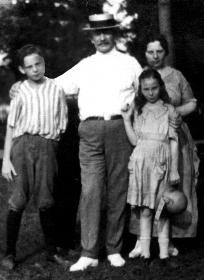 James Caldwell, Charles Mason Caldwell, Lillian Caldwell and Mary Ellen Reilly Caldwell at Boblo Island Amusement Park in 1921