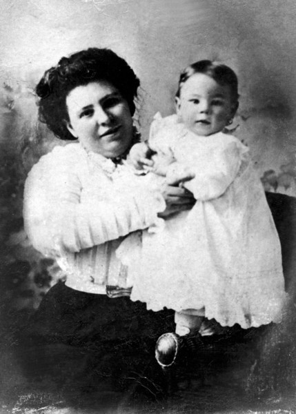 Mary Ellen Reilly Caldwell, b. 1877 / d. 1967  and her son James Joseph Caldwell, b. 1908 / d. 1980.  The photo was probably taken in late 1908 or early 1909.