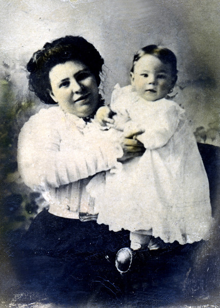 Mary Ellen Reilly Caldwell, (born 1877 / died 1967)  and her son James Joseph Caldwell, (born 1908 / died 1980).  <br /> The photo was probably taken in late 1908 or early 1909.
