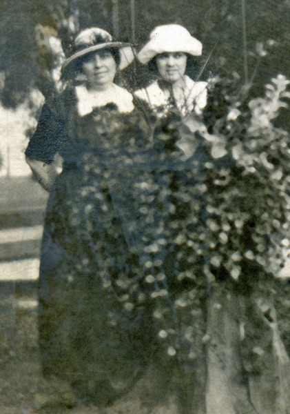 Clara Caldwell Povish (born 1903 / died 1972) and her mother Mary Ellen Reilly Caldwell (detail from 1921 photo)