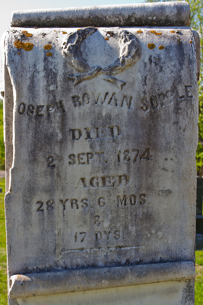 Plot 37, Row 5<br /> [J]oseph Rowan Supple<br /> died<br /> 2 Sept. 1874<br /> aged<br /> 28 yrs, 6 mos.<br /> &<br /> 17 dys