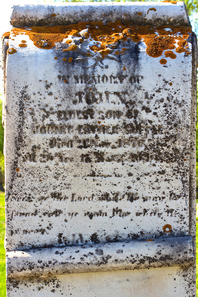 Plot 37, Row 5<br /> in memory of<br /> John<br /> eldest son of<br /> John & Esther Supple<br /> died 21 Nov 1870<br /> AE 28 yrs 11 mos & 10 days<br /> Seek ye the Lord while he may be<br /> found. Call ye upon Him while He<br /> is near