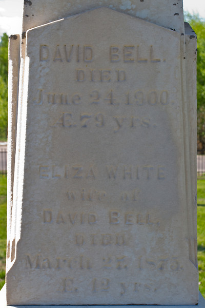 Plot 4, Row 2<br /> David Bell<br /> died<br /> June 24, 1900<br /> AE. 79 yrs.<br /> Eliza White<br /> wife of<br /> David Bell<br /> died<br /> March 27, 1875<br /> AE. 42 yrs.