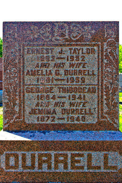 Plot 6, Row 2<br /> Ernest J. Taylor<br /> 1882 - 1952<br /> and his wife<br /> Amelia G. Durrell<br /> 1881 - 1959<br /> -------------------------<br /> George Thibodeau<br /> 1864 - 1941<br /> and his wife<br /> Jemima Durrell<br /> 1872 - 1940