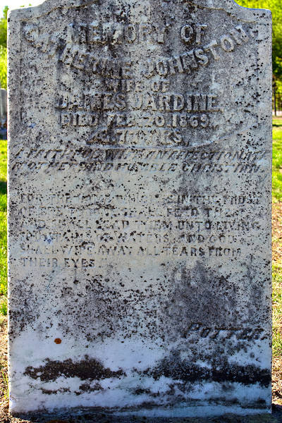 """Plot 5, Row 2, Monument 3<br /> in<br /> memory of<br /> Catherine Johnston<br /> wife of<br /> James Jardine<br /> died Feb. 20. 1869<br /> AE. 77 y'rs<br /> """"a faithful wife, an affectionate/mother and humble christian.""""<br /> """"For the Lamb which is in the midst<br /> of the throne shall feed them<br /> and shall lead them unto living<br /> fountains of water, and God<br /> shall wipe away all tears from<br /> their eyes.""""<br /> Potter"""