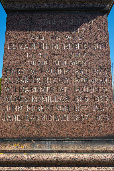Plot 7, Row 2<br /> Alexander Moffat<br /> 1831 - 1917<br /> and his wife<br /> Elizabeth M. Robertson<br /> 1841 - 1907<br /> their children<br /> Mary V. Lauder 1863 - 1876<br /> Alexander Fitzroy 1870 - 1899<br /> William Moffat 1861 - 1922<br /> Agnes McMillan 1865 - 1929<br /> John Robertson 1872 - 1935<br /> Jane Carmichael 1867 - 1938