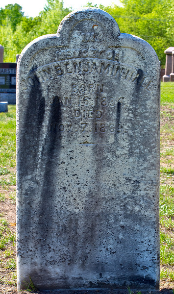 Plot 35, Row 5<br /> in<br /> memory of<br /> John Benjamin Hale<br /> born<br /> Jan 16 1834<br /> died<br /> Nov. 7, 1869