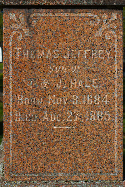 Plot 213, Row 19<br /> Thomas Jeffrey<br /> son of<br /> T. & J. Hale<br /> born Nov. 8, 1884<br /> died<br /> Aug. 27, 1885