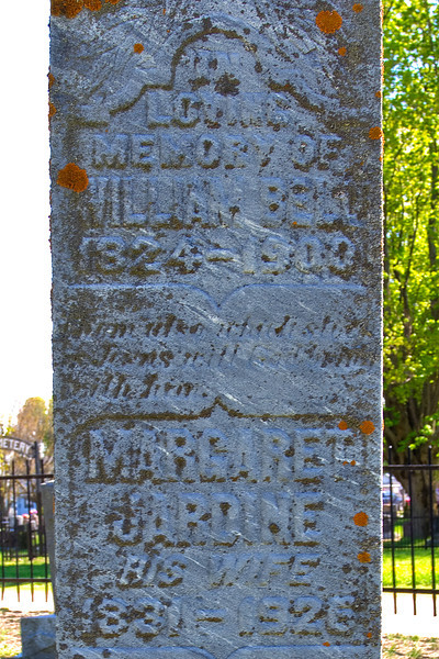 """Plot 2, Monument 1<br /> in<br /> loving<br /> memory of<br /> William Bell<br /> 1824 - 1900<br /> """"Them also which sleep/in Jesus will God bring/with him""""<br /> Margaret<br /> Jardine<br /> his wife<br /> 1831 - 1926"""