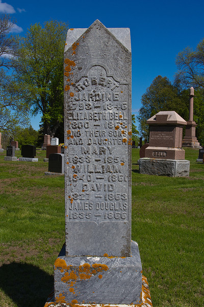 Plot 2, Row 2<br /> Robert Jardine<br /> 1793 - 1846<br /> Elizabeth Bell<br /> 1800 - 1868<br /> and their sons and daughter<br /> Mary<br /> 1833 - 1854<br /> William<br /> 1840 - 1861<br /> David<br /> 1827 - 1863<br /> James Douglas<br /> 1835 - 1866