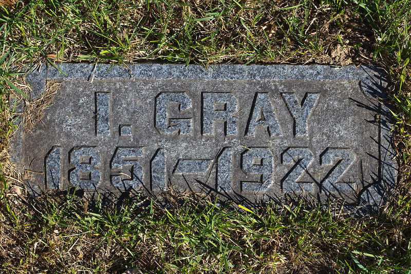 Plot 196, Row 18<br /> I. Gray [Isabel Ann Gray]<br /> 1851 - 1922