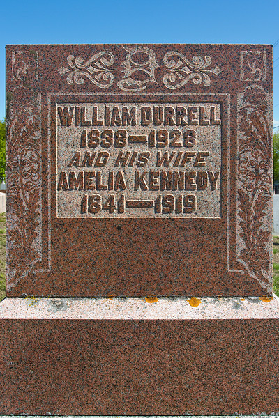 Plot 6, Row 2<br /> William Durrell<br /> 1838 - 1928<br /> and his wife<br /> Amelia Kennedy<br /> 1841 - 1919