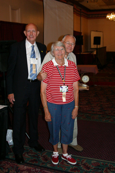 Helen and Paul Hile of Fairfax, Virginia were among those recognized during the Foundation Buffet Luncheon.  IFAHSGR President Mayo Flegel is at left.