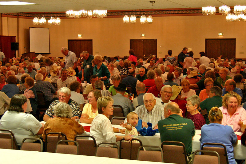 """One of the early """"all hands"""" gatherings in the ballroom at the Parkway Plaza Hotel and Convention Center in Casper."""