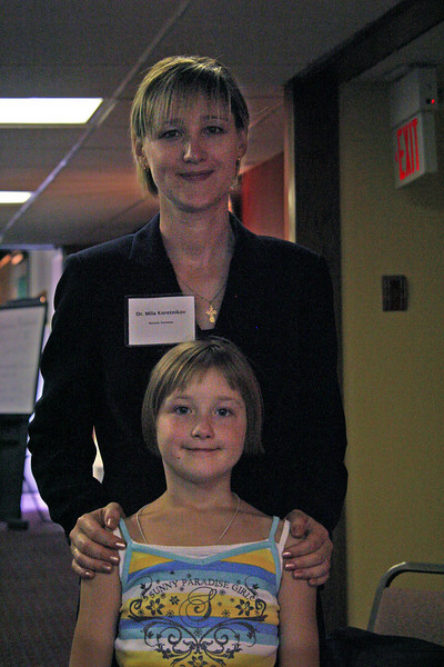 Dr. Mila Koretnikov and one of her daughters.  That would be either Elisabeth....or Anna Emily.  Both were listed in the registration list.  They traveled from Rastatt, Germany to attend the convention.  Mila was a main speaker and workshop presenter.