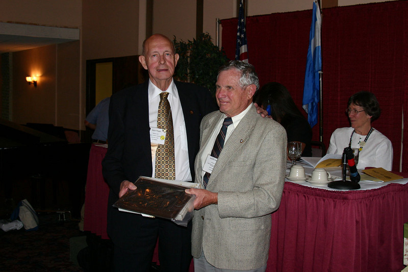 Mayo Flegel (left) of Mankato, Minnesota, was a recipient of the AHSGR Distinguished Service Award.  It was presented by President Jerry Siebert.