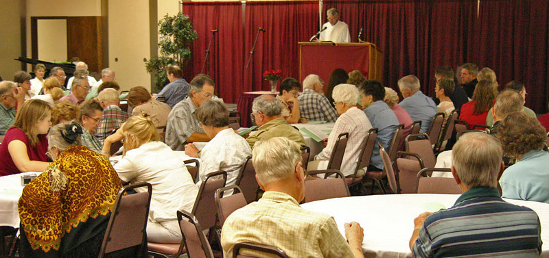 Sunday morning services were held in the Ballroom of the Parkway Plaza Hotel and Convention Center.