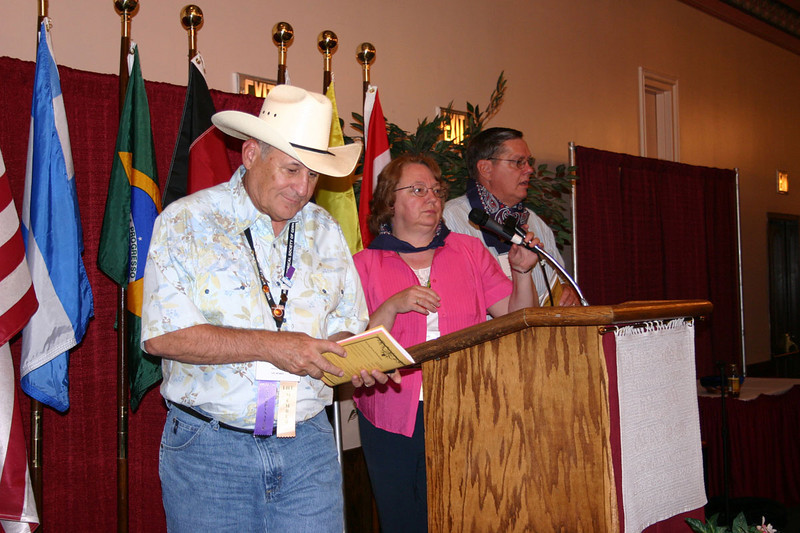 """Trail Boss"" Nick Bretz of Arvada, Colorado, and his wife Barbara were in charge of the Western Theme prizes"