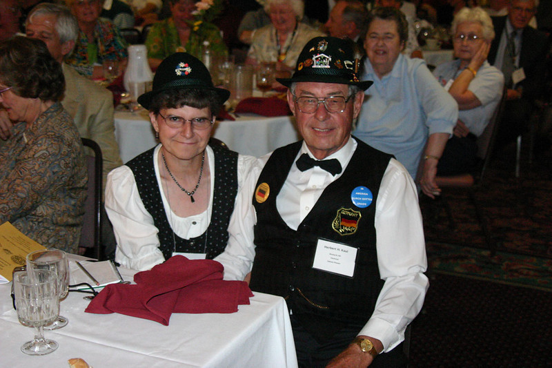"""Sandra and Herbert Kaul from Bismarck, North Dakota were well """"suited"""" for the Saturday banquet!"""