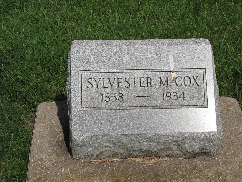 Sylvester M Cox 1858-1934 Leon Cemetary, Whiteside county, Illinois,