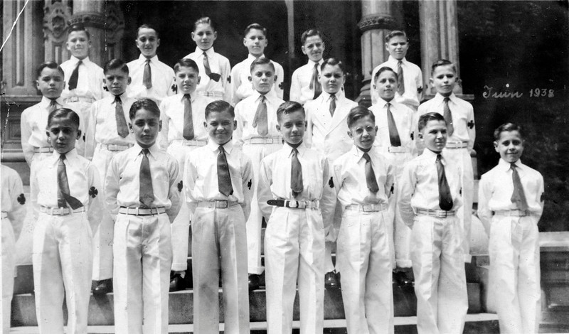 Roger Frechette at Franco American Orphanage, June 1938.<br /> Roger is in the back row top right.