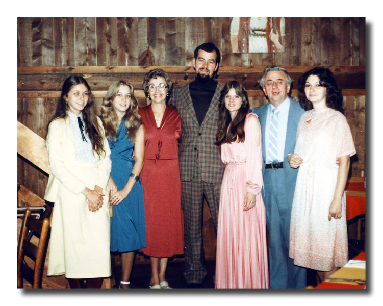 "At Sonny & Kathy's wedding reception (l-r); Lisa Chouinard, Gail (Chouinard) Hall, Cecile (Frechette) & George ""Sonny"" Chouinard, Jr., Kathy (Perry) & George Chouinard, Susan (Chouinard) Regan, August 19, 1979."