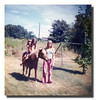 Gail Chouinard holds the wild horse while her nieces, Wanda & Tanya Kisley at Gail's house, about 1973.