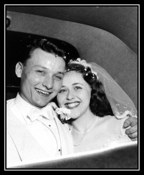 Estelle (Frechette) & Steve Kisley on their wedding day; June 28, 1952.