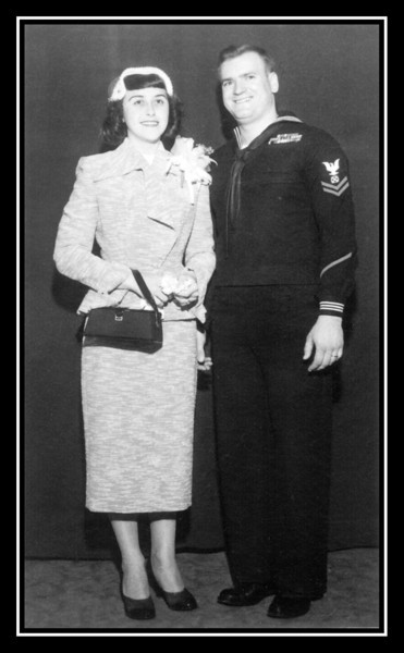 Therese (Frechette) & Arthur Gagnon ready to leave for their honeymoon after their wedding; April 4, 1953.