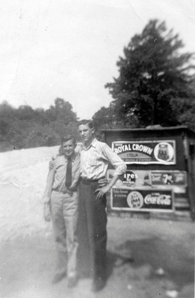 Roland Frechette  (L) on leave with friend, 1942.