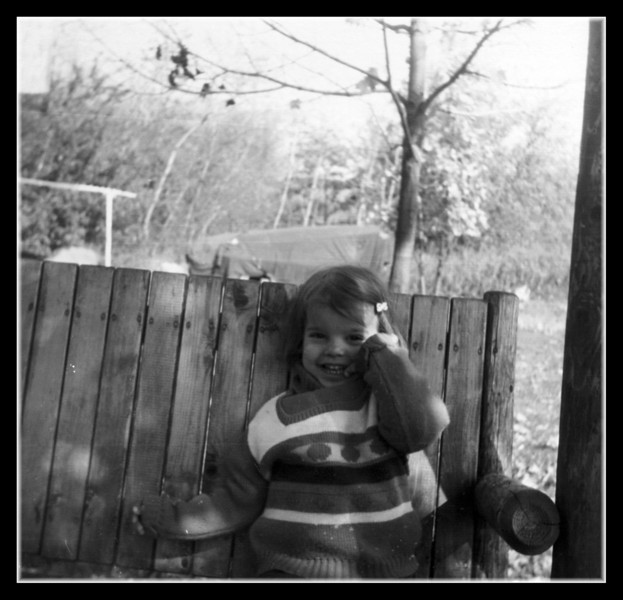 Nicole Chouinard on the swing at Cecile & George's house, 1975.