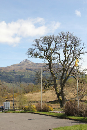 Ben Lomond and the flagpoles from the car park. 29 April 2012