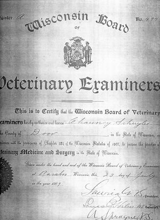 Chauncy Schuyler's Veterinary Licence