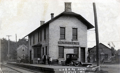 Sawyer train depot on Sturgeon Bay's west side. It is now the Culligan building, near the Oregon Street Bridge.