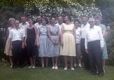 Back: Audrey & Cliff Clark, Frank Clark, Jerry & Beverly Clark, Raymond and Eva (Tom Clark in background). Front: Alvin and Doris (Clark) Grovogel, Dorothy (Foote) Clark, Amelia (Clark) Thiry, Edith (Wilke) Clark and Sanford Clark.