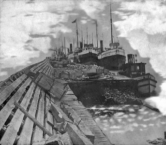 Picture on a postcard sent by Sanford Clark while employed on the steam barge Adriatic.