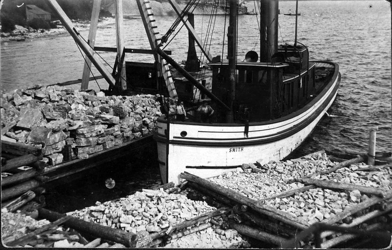 Stone boat at the Sturgeon Bay stone quarry.