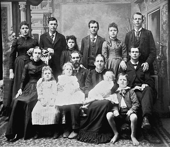 Circa 1891  William Nelson Clark (1845-1910) and Sarah Nancy Clark (Bradburn) (1849-1916)  1st  Row :  Lottie, Lenna, Luther on Sarah's lap and Homer Otho barefoot  2nd Row:  Alice Lee Clark (Edward's wife), William Nelson Clark, Nancy Bradburn Clark, and Edward  3rd Row: Laura, William, Ada, Charlie, Nealie and Albert Benton Clark  William Nelson Clark enlisted as Priviate (Age 18, matches birthdate) on May 27, 1863 in Staunton, Virigina by Captain John Avis (CSA) and served in the local Provost Guard.  CSA records indicate present May 1863 to October 1864 (dated December 1864), no other  records found.