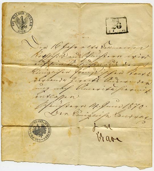 JUNI<br /> 26<br /> 64<br /> <br /> [seal] EIN HALBER THALER<br /> 15 GR<br /> <br /> Der 16 Jahre alte Callmann Rothschild aus Schüchtern wird auf sein Ansuchen aus dem Königlichen Preußischen Staats verbande Zwecks Auswander ung nach Amerika hiermit entlassen.<br /> <br /> Schuchten 14. Juni 1870<br /> Der Königliche Landrat<br /> [unreadable signatures]<br /> <br /> [seal] KÖN: LANDRATHSAMT SCHÜCHTERN<br /> <br /> ____________________________________<br /> <br /> Translation:<br /> <br /> <br /> June 26<br /> <br /> [fee:] one half dollar or 15 Groschen<br /> <br /> The 16 year old Callmann Rothschild is herewith released from the Royal Prussian state in order to emigrate to America.<br /> <br /> Schüchtern 14. Juni 1870<br /> The Royal County Administrator<br /> <br /> [unreadable signatures]<br /> <br /> Seal: County Administration Schüchtern<br /> <br /> ____________________________________<br /> <br /> Translation courtesy of Andreas J. Schwab, Jewishgen.org, Viewmate project