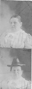 Two tiny photos of Jennie Dohm, one with hat