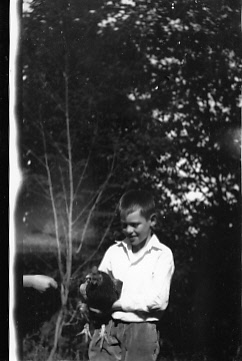 Dudley Dohm with rooster brought back from France, post-WWI