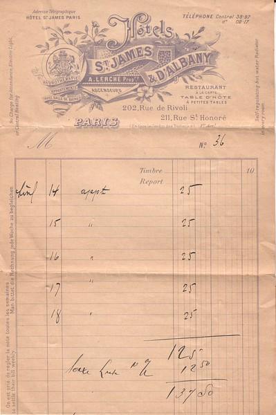 Partial copy, Paris hotel receipt, World War I
